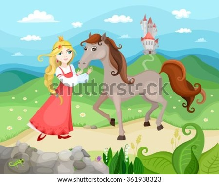 illustration with princess, horse and castle