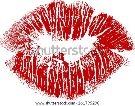 illustration with red lips imprint isolated on white background - stock vector