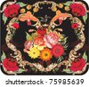 illustration with red poppy decoration - stock photo