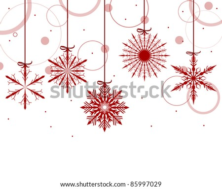illustration with red snowflakes on white background - stock vector