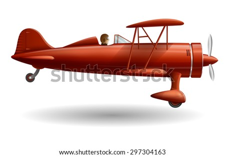 Illustration with retro red plane, EPS 10 contains transparency.