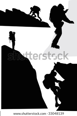 illustration with rock climbers isolated on white background - stock vector