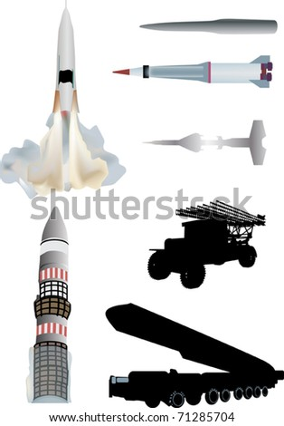 illustration with rockets and missiles collection - stock vector