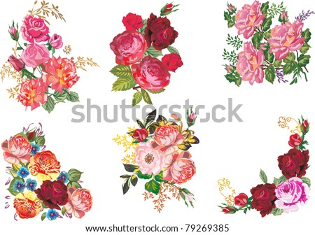illustration with rose decoration isolated on white background - stock vector