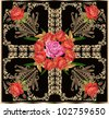 illustration with rose floral square decoration - stock photo