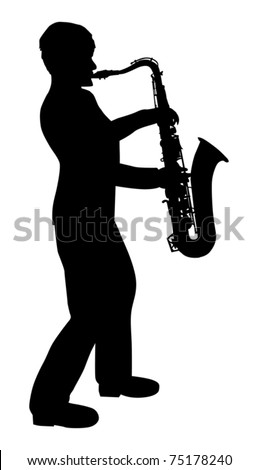 illustration with saxophonist silhouette isolated on white background - stock vector
