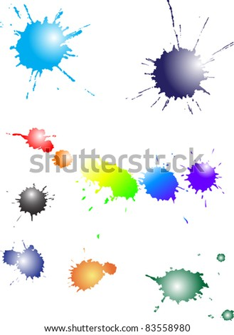 illustration with set of blots isolated on white background - stock vector