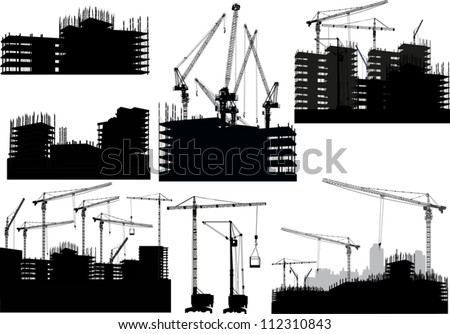 illustration with set of buildings and cranes