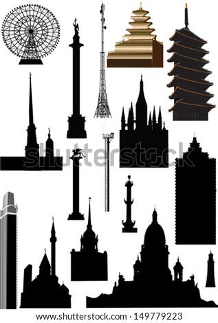 illustration with set of different buildings isolated on white background