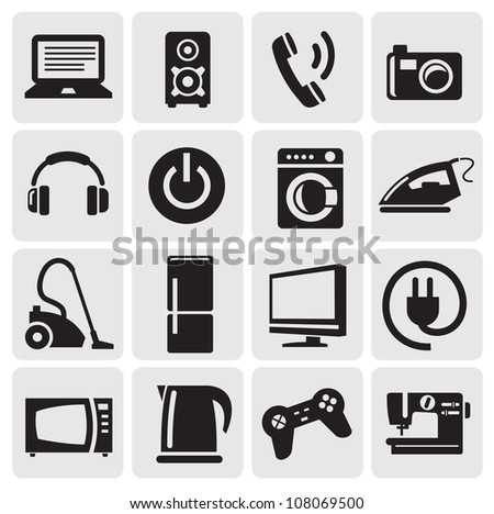 illustration with set of electronic devices - stock vector