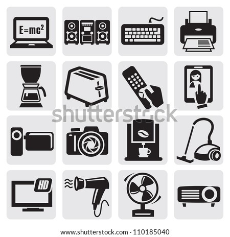 illustration with set of electronic devices on gray - stock vector