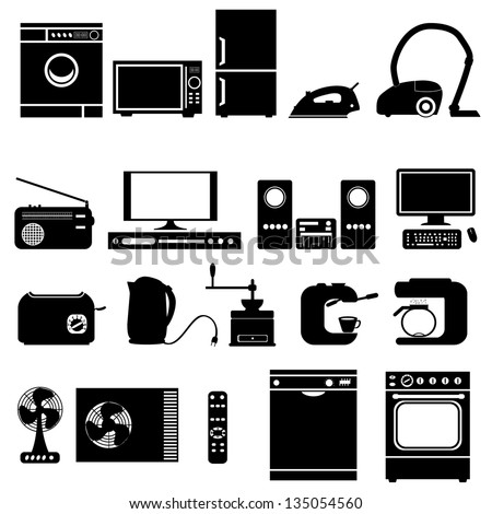 illustration with set of electronic  home   devices - stock vector