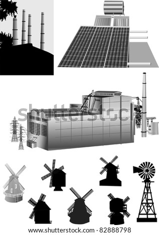 illustration with set of energy generators - stock vector