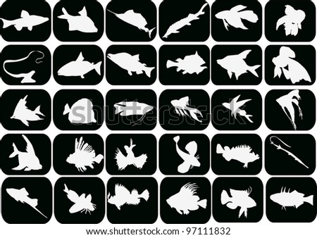illustration with set of fishes on black background