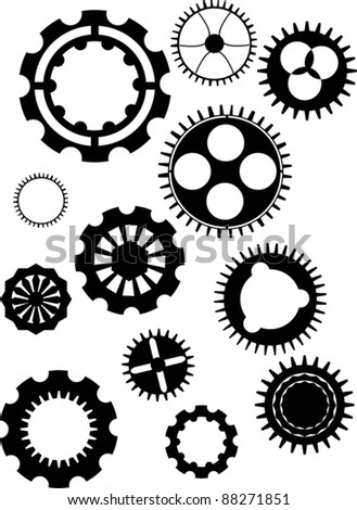 illustration with set of gear silhouettes isolated on white background - stock vector