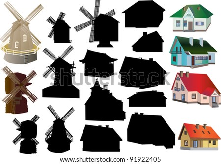 illustration with set of isolated country buildings - stock vector