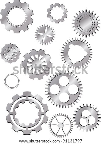 illustration with set of metal gears isolated on white background - stock vector