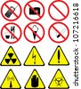 illustration with set of prohibitory and warning signs isolated on white - stock photo