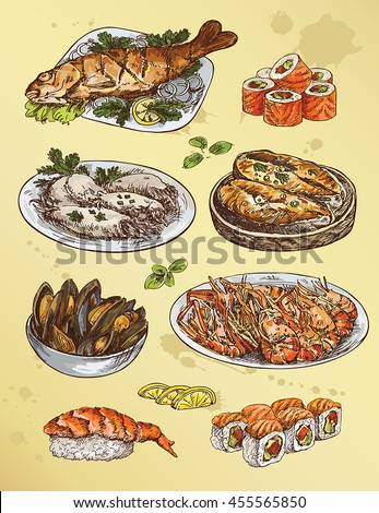 illustration with set of  seafood - stock vector