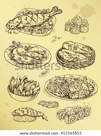 illustration with set of  seafood