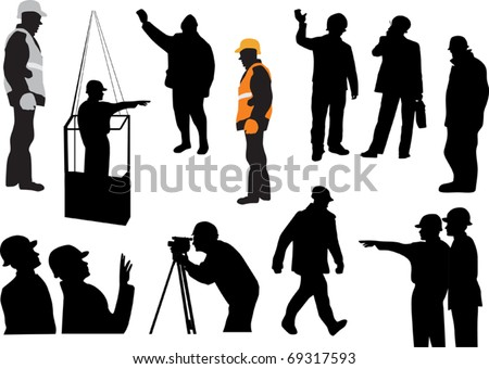 illustration with set of workers isolated on white background - stock vector