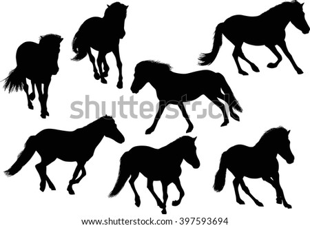illustration with seven horses isolated on white background