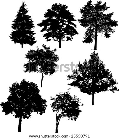 illustration with seven tree silhouettes isolated on white background - stock vector