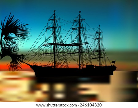 illustration with ship silhouette at dark sunset - stock vector