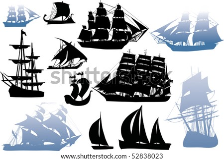 illustration with ship silhouette collection isolated on white background - stock vector
