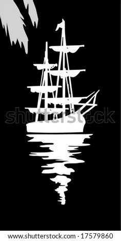 illustration with ship silhouette isolated on black background - stock vector