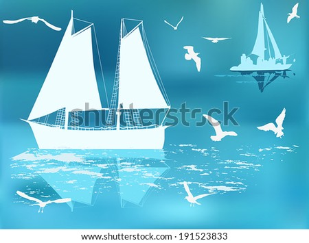 illustration with ship silhouettes in blue sea