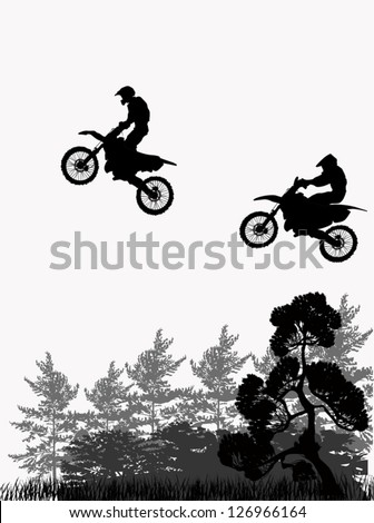 illustration with silhouette of man on motorcycle - stock vector