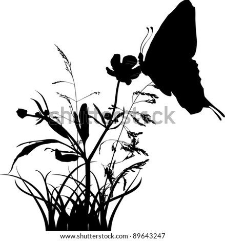 Illustration with silhouettes of butterfly on flower - stock vector