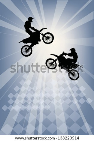 illustration with silhouettes of men on motorcycles