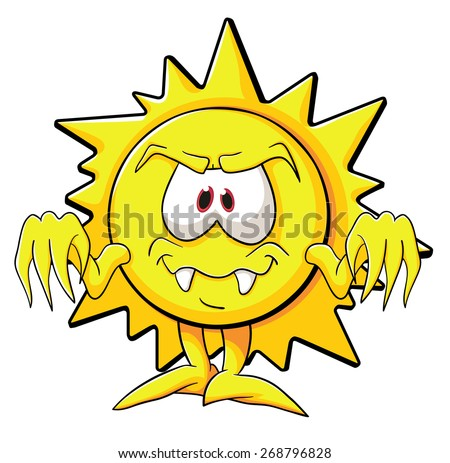 Illustration with simple gradients with the image of cute cartoon sun - stock vector