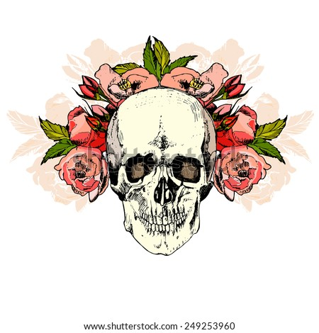 illustration with skull. hand draw. vector. - stock vector