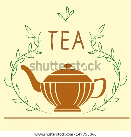 Illustration with teapot - stock vector