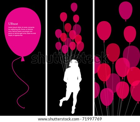 illustration with text concept and pink ballons - stock vector