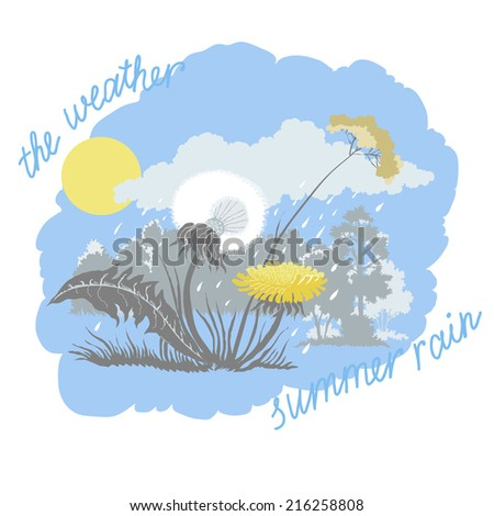 Illustration with the Forest Landscape and the Dandelion - stock vector