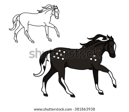 Illustration with the image of a black horse and its contour