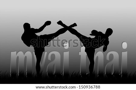 Illustration with the image of Thai boxers on a gray background