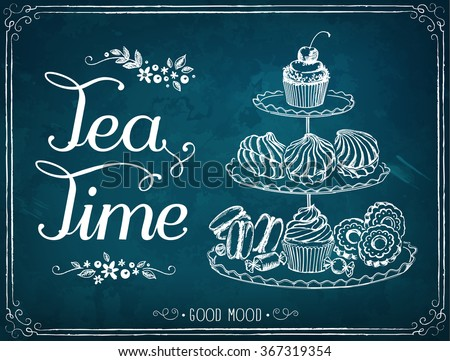 Illustration with the words Tea Time. A three-tiered stand with sweet pastries. Freehand drawing with imitation of chalk sketch  - stock vector