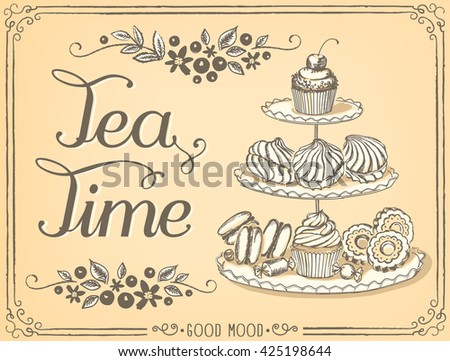 Illustration with the words Tea Time three-tiered stand with sweet pastries. Freehand drawing with imitation of sketch  - stock vector