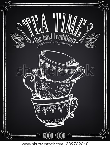Illustration with the words Tea Time with cups. Freehand drawing with imitation of chalk sketch - stock vector