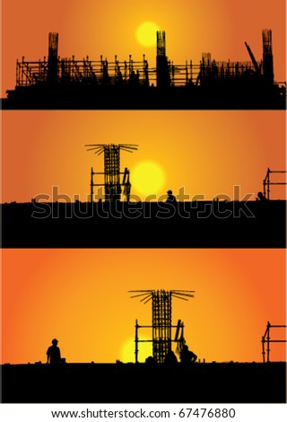 illustration with three construction views in sunset - stock vector