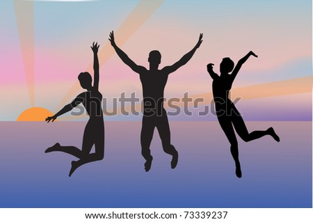 illustration with three jumping silhouettes on sea sunset background