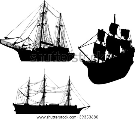 illustration with three ship silhouettes isolated on white background - stock vector