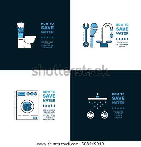 Illustration with tips on saving water consumption by man in a house - Quot Water Tumbler Quot Stock Photos Royalty Free Images