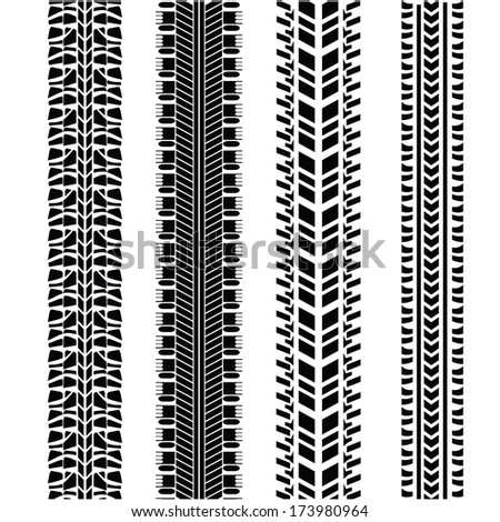 illustration with tire prints   for your design - stock vector