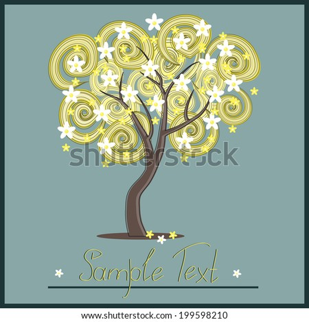 Illustration with tree and flowers
